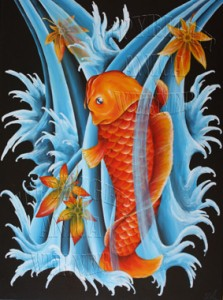 Koi, Acryl auf Leinwand, 60 x 80 cm